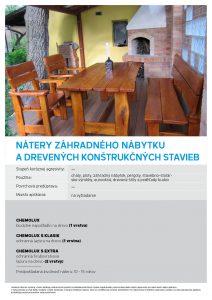 nátery záhradného nábytku a drevených konštrukcií stavieb