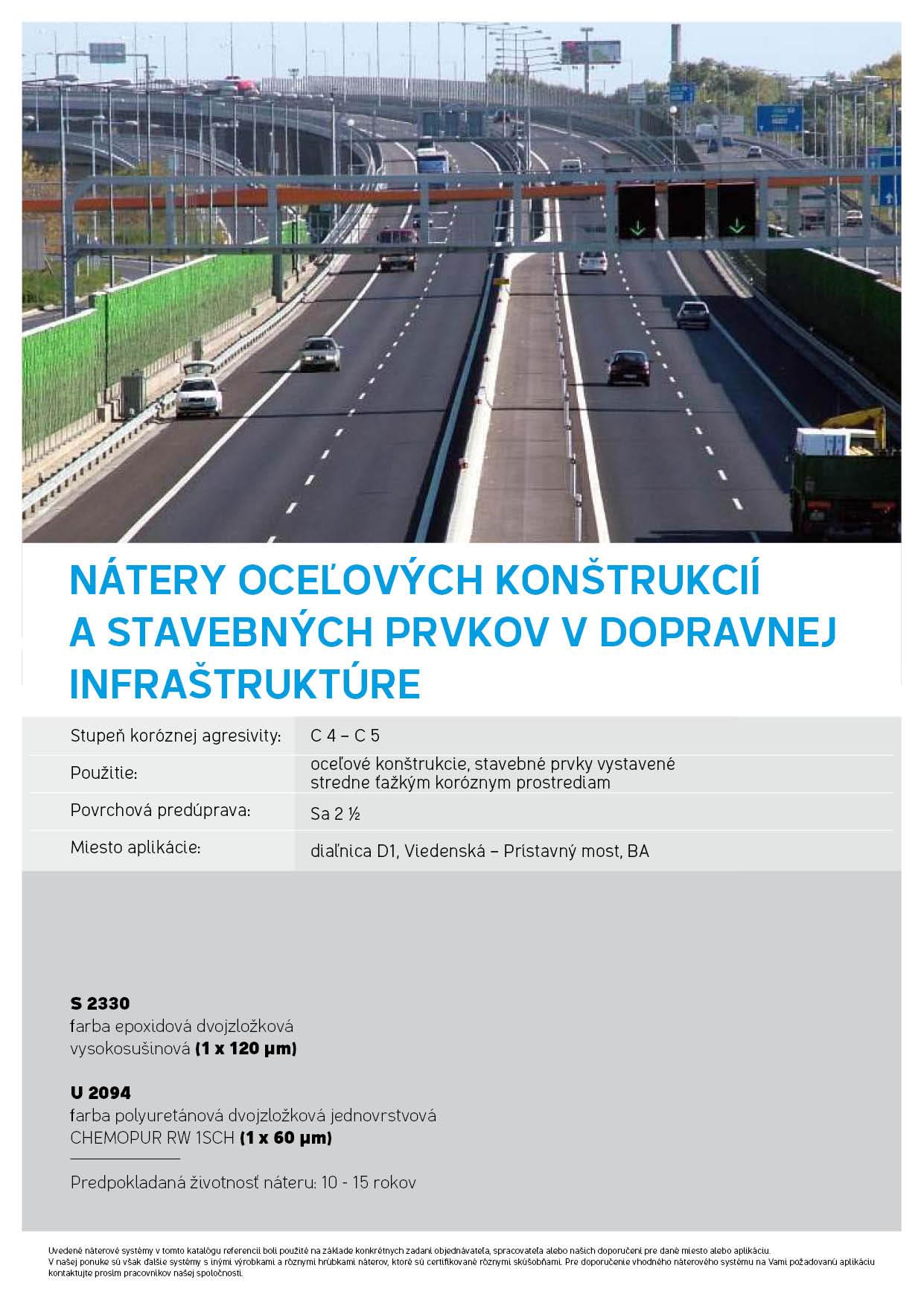 nátery oceľových konštrukcií a stavebných prvkov v dopravnej infraštruktúre Chemolakom