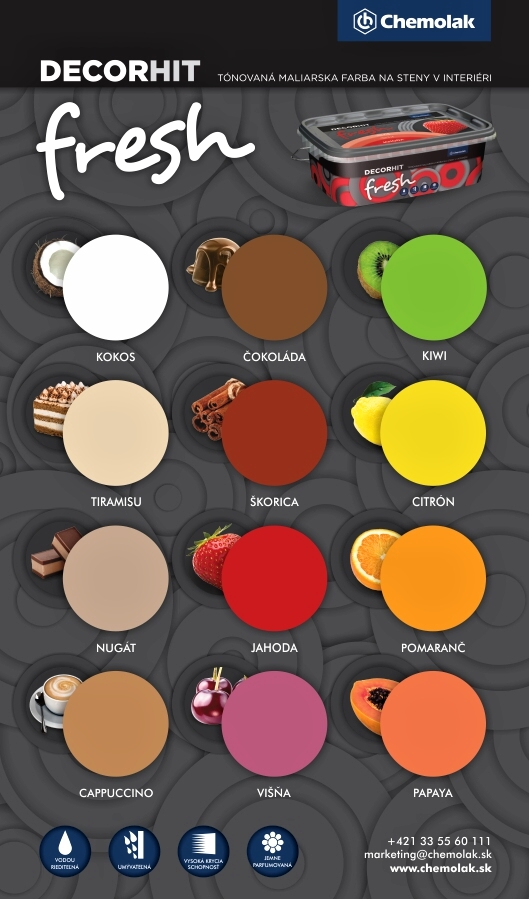 Chemolak produkt Decorhit fresh vzorkovnik farieb